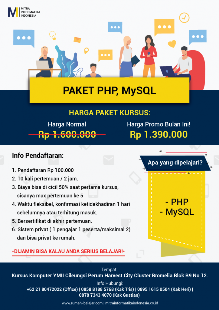 brosur kursus komputer web programmer php mysql