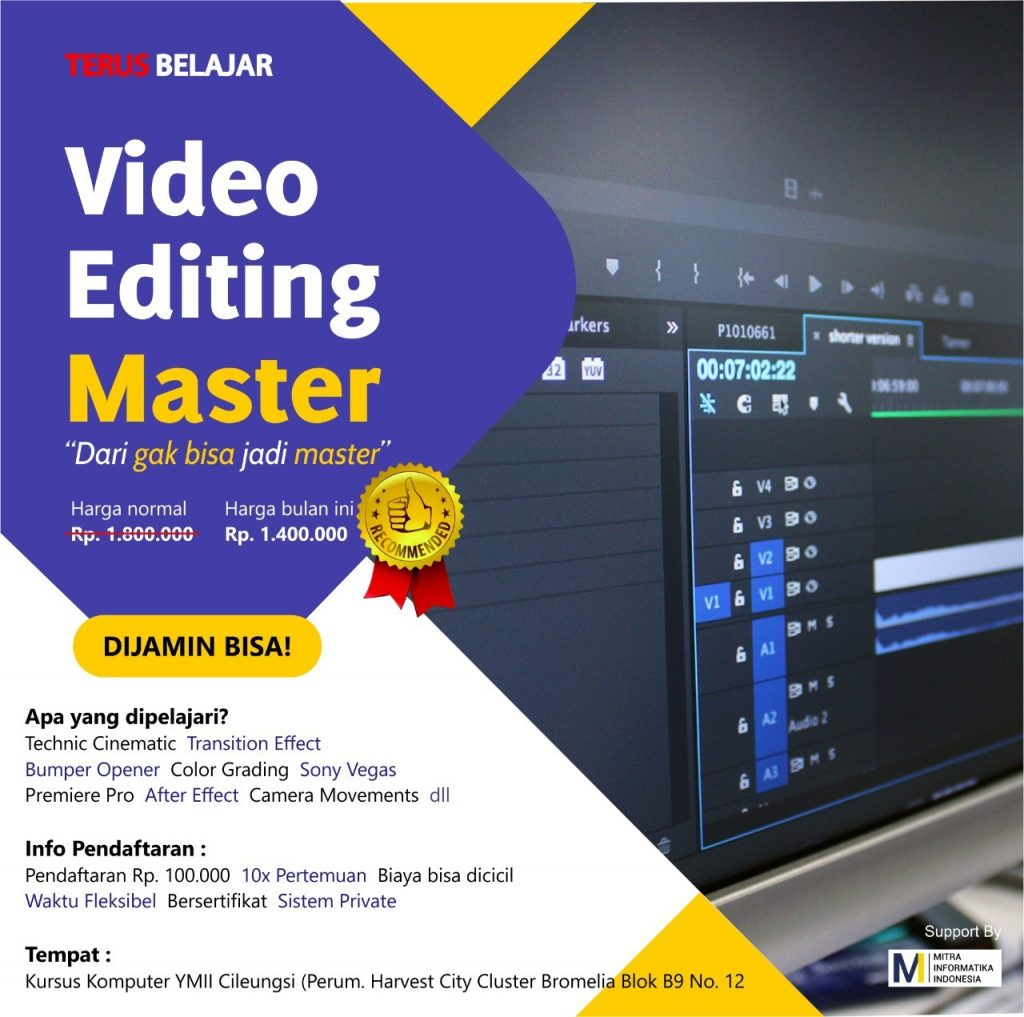 paket kursus komputer terdekat paket video editing di kursus komputer ymii cileungsi