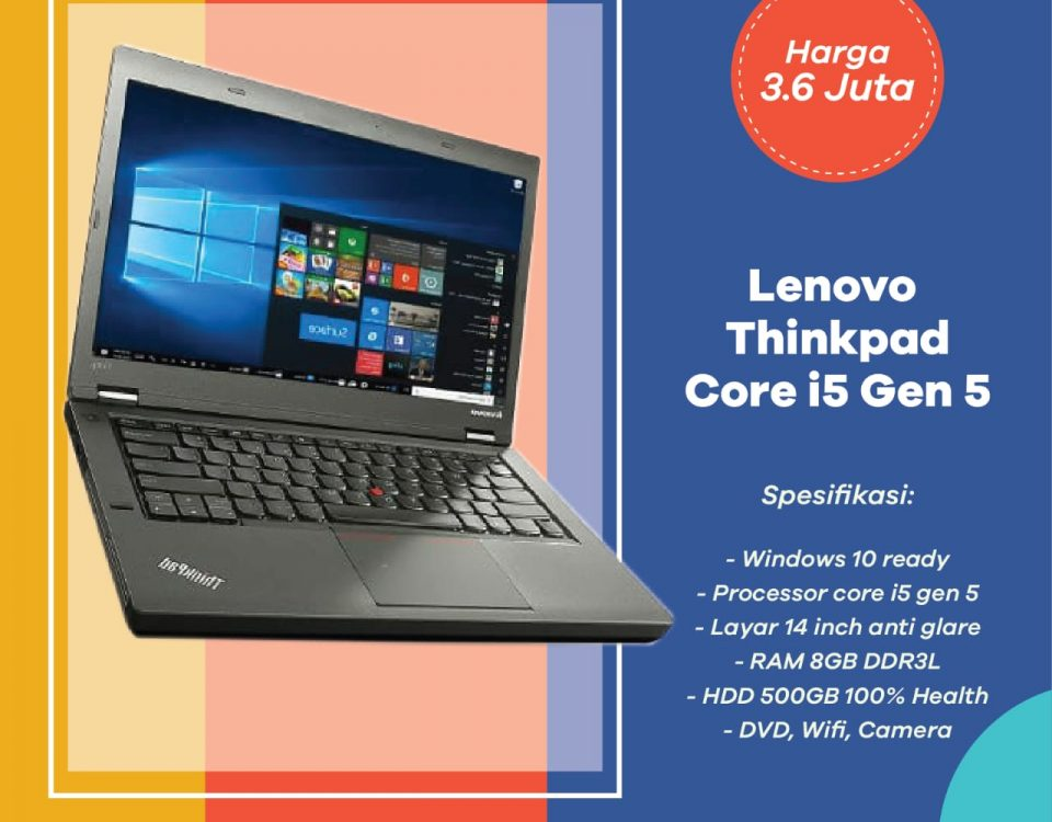 Jual Laptop Second Lenovo Thinkpad Core I5 RAM 8GB di Cileungsi (Ready Stock)