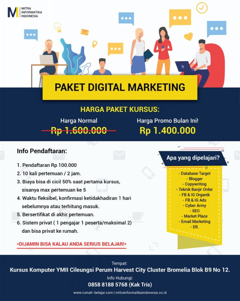 paket kursus digital marketing di kursus komputer ymii cileungsi