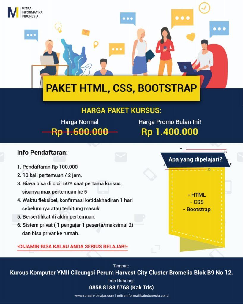 paket web desain html, css, bootsrap di kursus komputer ymii cileungsi