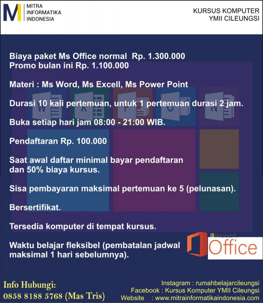 brosur kursus komputer untuk pemula ms office di ymii cileungsi