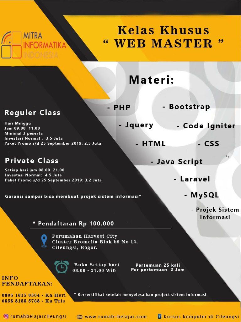 paket kursus web master komplit (html, css, bootstrap, php, mysql, ci)