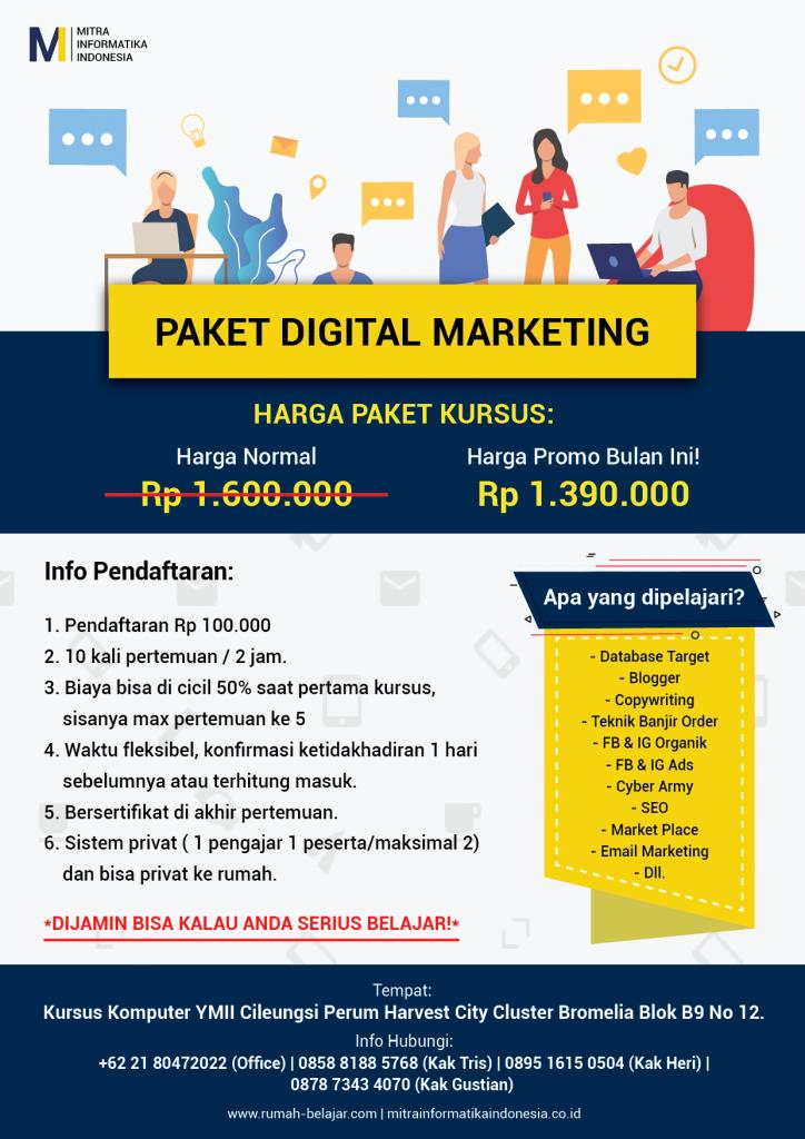 brosur kursus komputer digital marketing