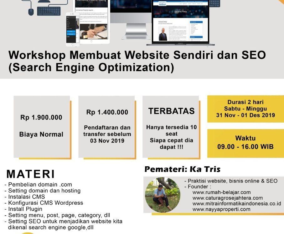 workshop web desain dan seo di kursus komputer ymii cileungsi